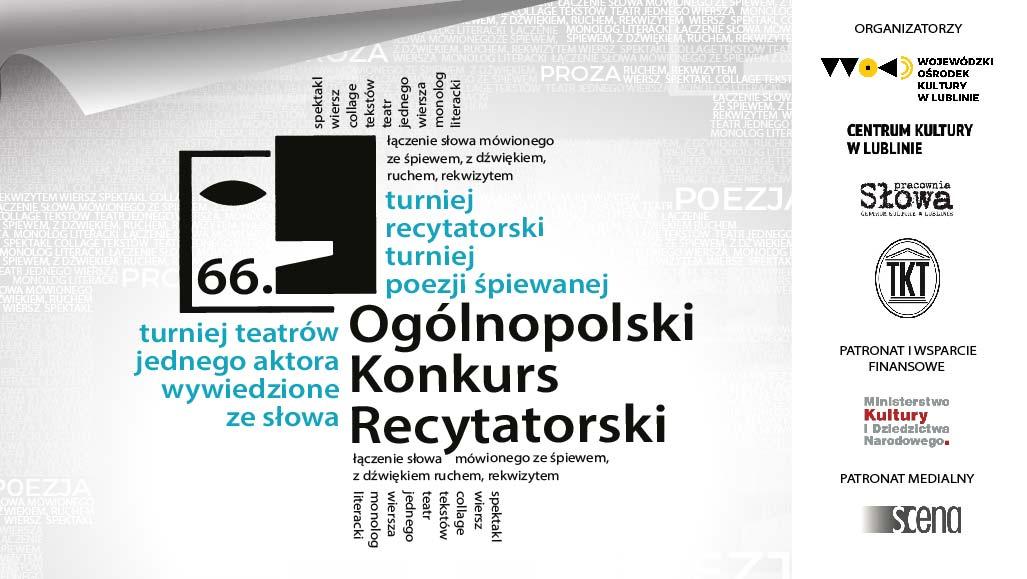 Biało-szaro-czarno-niebieskie logo 66. Ogólnopolskiego Konkursu Recytatorskiego
